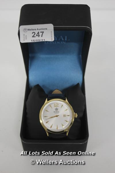 GENTS,ROYAL LONDON,QUARTZ WATCH, WHITE ARABIC DIAL WITH DATE,YELLOW CASE,WR30 METERS,BLACK ALLIGATOR