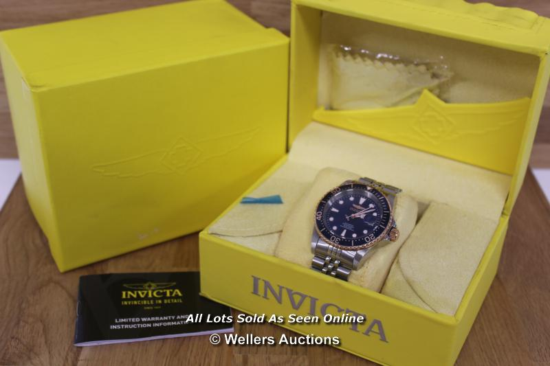 *GENTS INVICTA, AUTOMATIC MOVEMENT,BRUSHED AND POLISHED CASE AND BRACELET WITH PINK METAL BEZEL - Image 3 of 3