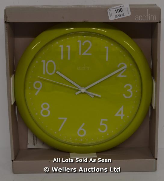 ACCTIM ABINGDON LIME GREEN WALL CLOCK,QUARTZ, ANALOGUE. / NEW & SEALED