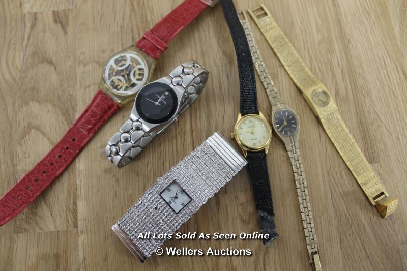 SIX ASSORTED LADIES WATCHES INCLUDING SEKONDA, ROTARY AND SWISS BALANCE, ALL SPARES AND REPAIRS