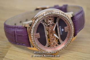 *LADIES EMPRESS WATCH, ROSE COLOURED CASE, MANUAL MOVEMENT, STONE SET BEZEL AND DIAL, CLEAR CASE
