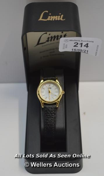 LADIES ,LIMIT,QUARTZ WATCH ,MOTHER OF PEARL BATTON DIAL,STONE SET 12 OCLOCK HOUR MARKER , YELLOW