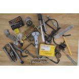 BOX OF MIXED, ASSORTED CLOCK/WATCH MAKERS TOOLS,CASE OPENER,CLCOK SPANNERS,DRILL BITS,CALLIPERS,