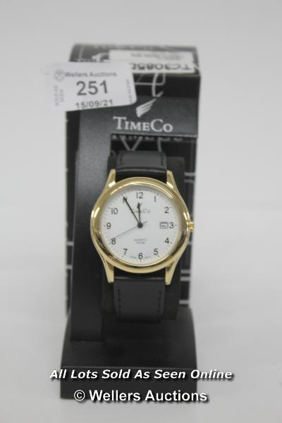 GENTS,TIMECO,QUARTZ WATCH,WHITE ARABIC DIAL WITH DATE, YELLOW METAL CASE, WR30 METERS ON BLACK