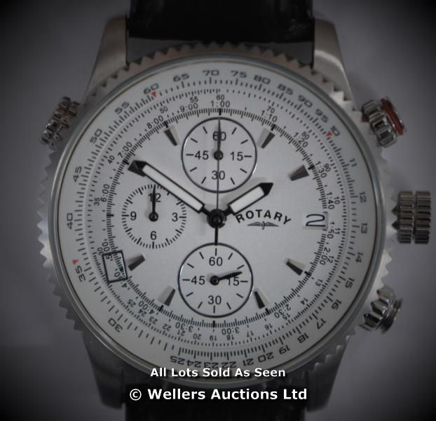 *GENTS ROTARY STEEL CHRONOGRAPH ,SILVER BATTON DIAL WITH DATE,QUARTZ MOVEMENT, BLACK LEATHER PIN - Image 3 of 6