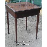 ANTIQUE CARD TABLE, 56 X 76CM, OPENED TOP - 68 CM WIDE / COLLECTION FROM HOMESTEAD FARM