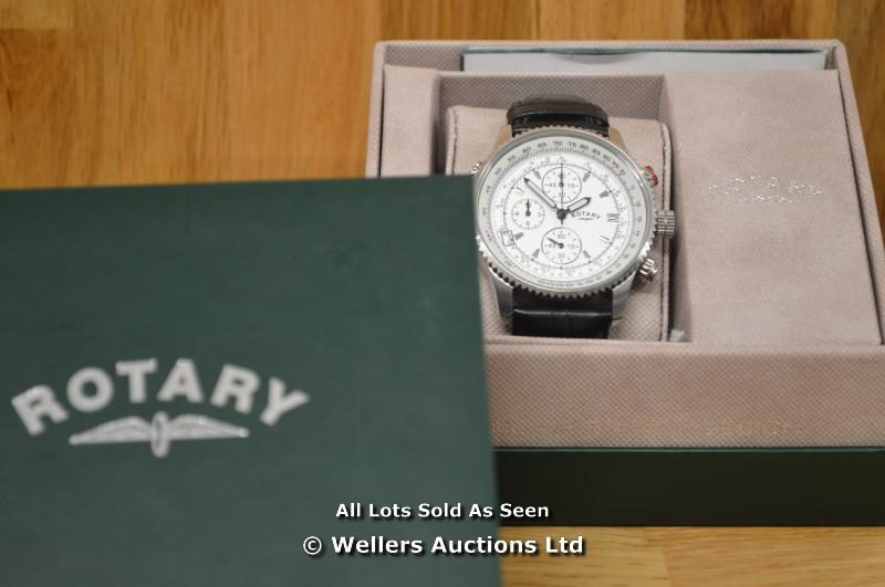*GENTS ROTARY STEEL CHRONOGRAPH ,SILVER BATTON DIAL WITH DATE,QUARTZ MOVEMENT, BLACK LEATHER PIN - Image 6 of 6