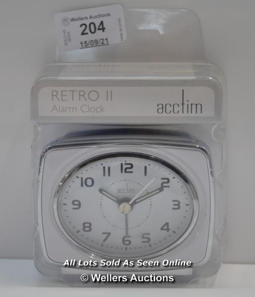 ACCTIM,RETRO 2,ANALOG ALARM CLOCK / APPEARS TO BE NEW - OPENED BOX