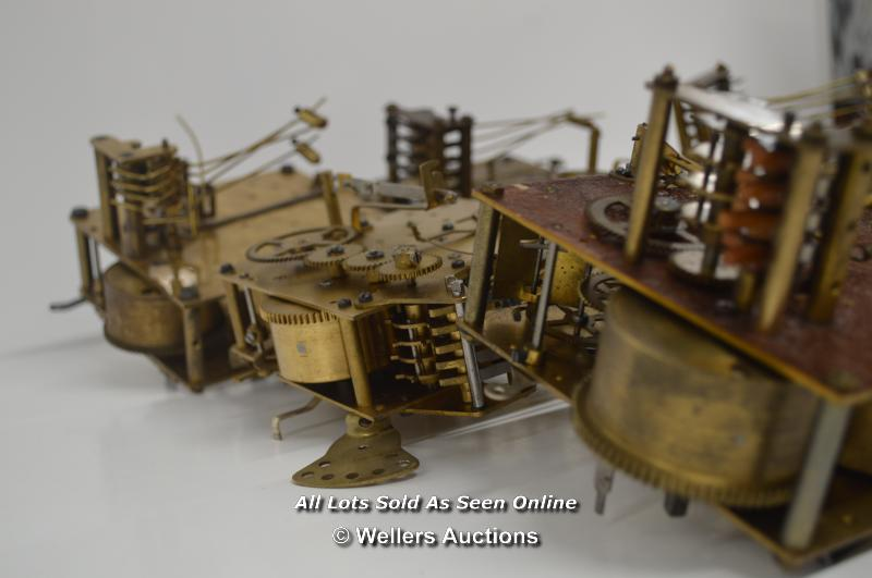 7X CLOCK MOVEMENTS,BRASS MECHANICAL,FOREIGN/HALLER BRAND,RESTORATION AND REPAIR - Image 3 of 3