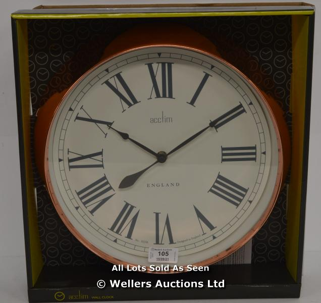 ACCTIM, BELMONT,QUARTZ ,ANALOGUE, WALL CLOCK,POLISHED COPPER STYLE FINISH / APPEARS TO BE NEW -