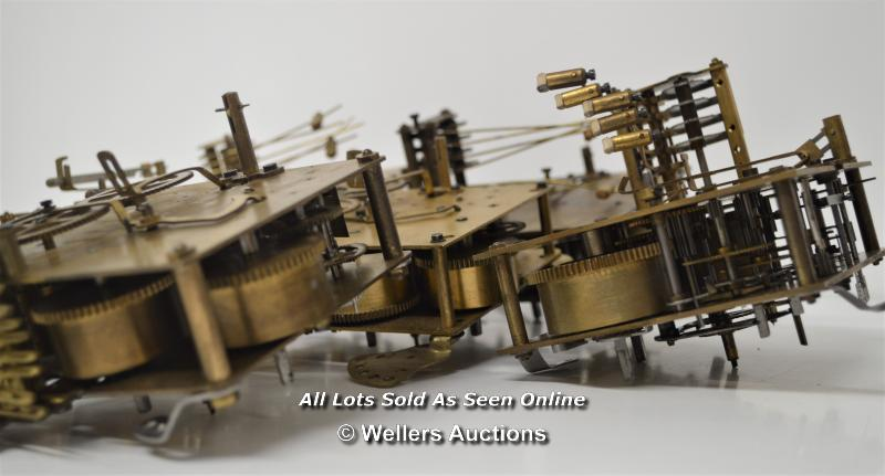7X CLOCK MOVEMENTS,BRASS MECHANICAL,FOREIGN/HALLER BRAND,RESTORATION AND REPAIR - Image 2 of 3