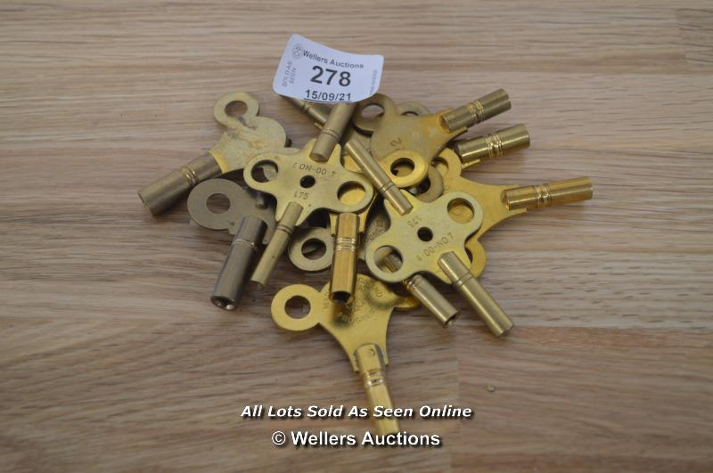 MECHANICAL BRASS CLOCK KEYS, ASSORTED SIZES AND QUANTITY