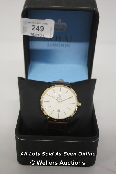 GENTS,ROYAL LONDON,QUARTZ WATCH,CREAM BATTON DIAL WITH DATE,YELLOW CASE WITH COIN EDGE BEZEL ON