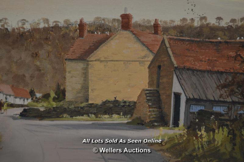 ROY KRATY OBE,SIGNED VILLAGE SETTING,OIL ON CANVAS BOARD, 54X28CM - Image 3 of 4