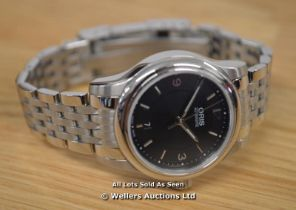 *LADIES ORIS CLASSIC, STAINLESS STEEL BRUSHED AND POLISHED CASE AND BRACELET, BLACK BATTON ARABIC