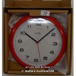 ACCTIM AYLESBURY RED WALL CLOCK,QUARTZ, ANALOGUE. / NEW & SEALED