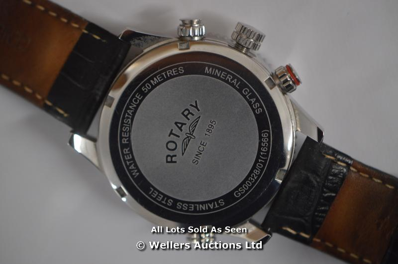 *GENTS ROTARY STEEL CHRONOGRAPH ,SILVER BATTON DIAL WITH DATE,QUARTZ MOVEMENT, BLACK LEATHER PIN - Image 5 of 6