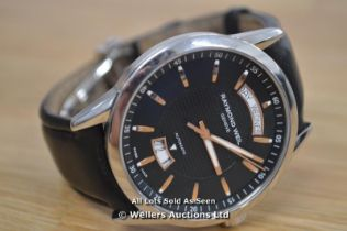 *GENTS RAYMOND WEIL FREELANCER, AUTOMATIC MOVEMENT, BLACK HOBNAIL DIAL WITH ROSE COLOURED HOUR