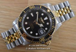 *GENTS INVICTA PRO DIVER WATCH, AUTOMATIC MOVEMENT,BRUSHED AND POLISHED STEEL CASE AND BRACELET,