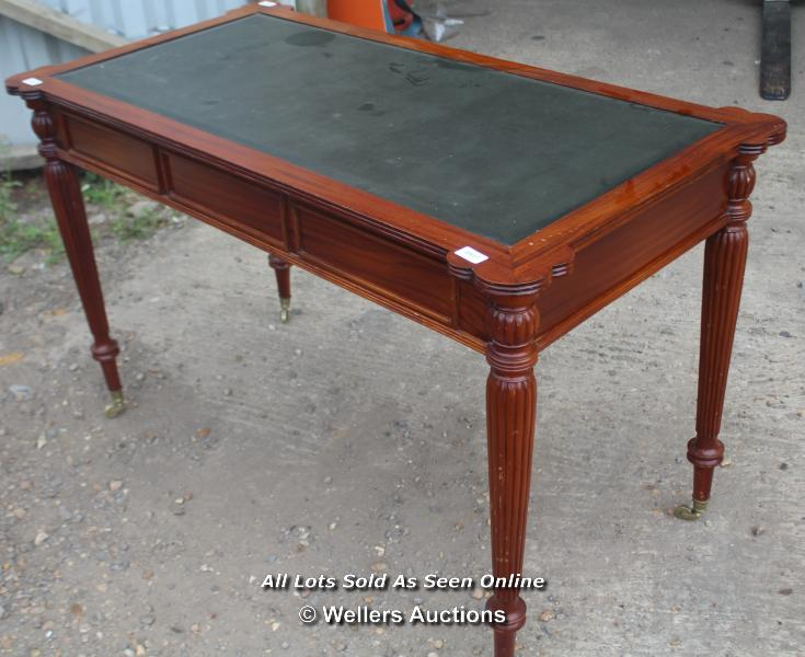 ANTIQUE THREE DRAWER LEATHER TOP WRITING DESK ON TURNED LEGS AND CASTERS, 125CM WIDE, 65CM DEEP, - Image 2 of 6