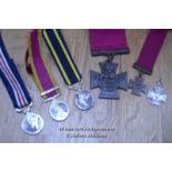COLLECTION OF BRITISH MILITARY MEDALS INCLUDING MINITURES, GEORGE CROSS COPYS FULL SIZE AND SMALL,