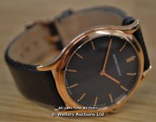*UNISEX ARMANI,SLIM LINE MODEL,ROSE GOLD PLATTED CASE,GREY BATTON DIAL WITH ROSE GOLD BATTONS