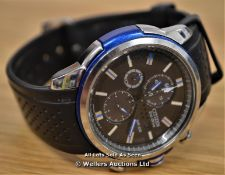*GENTS CITIZEN ECO-DRIVE CHRONOGRAPH, QUARTZ MOVEMENT, BLACK BATTON DIAL WITH DATE IN STAINLESS