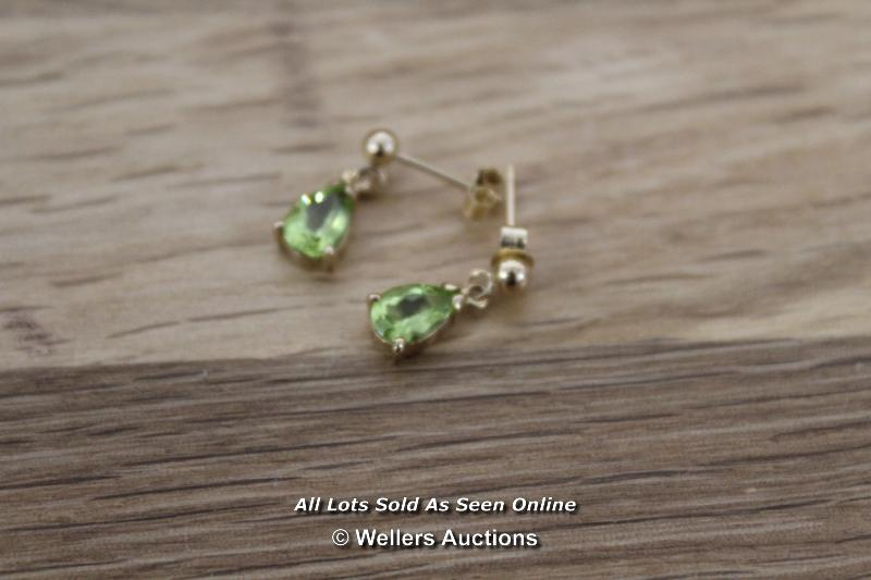 9CT PERIDOT SET EARRINGS AND NECKLACE - Image 2 of 3