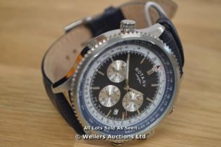 *GENTS ROTARY STEEL CHRONOGRAPH,BLUE BATTON DIAL WITH DATE, QUARTZ MOVEMENT,WR 70 METERS, 44MM
