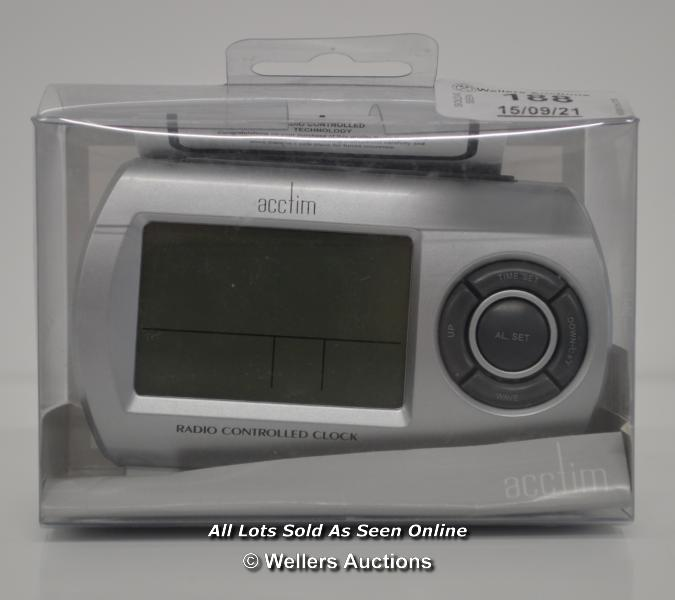 ACCTIM,QUARTZ ALARM CLOCK,RADIO CONTROLLED / APPEARS TO BE NEW - OPENED BOX