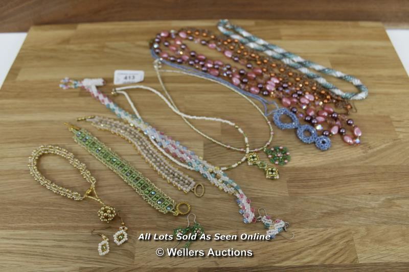 ASSORTED BEADED NECKLACES SOME WITH MATCHING EARINGS