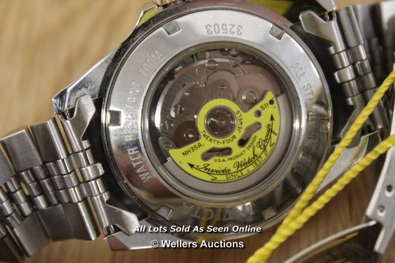 *GENTS INVICTA, AUTOMATIC MOVEMENT,BRUSHED AND POLISHED CASE AND BRACELET WITH PINK METAL BEZEL - Image 2 of 3