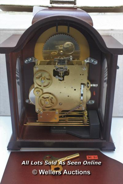 RAPPORT MECHANICAL MOON PHASE,ROMAN NUMERAL, BELL STRIKE, MANTLE CLOCK / APPEARS TO BE NEW - - Image 5 of 5
