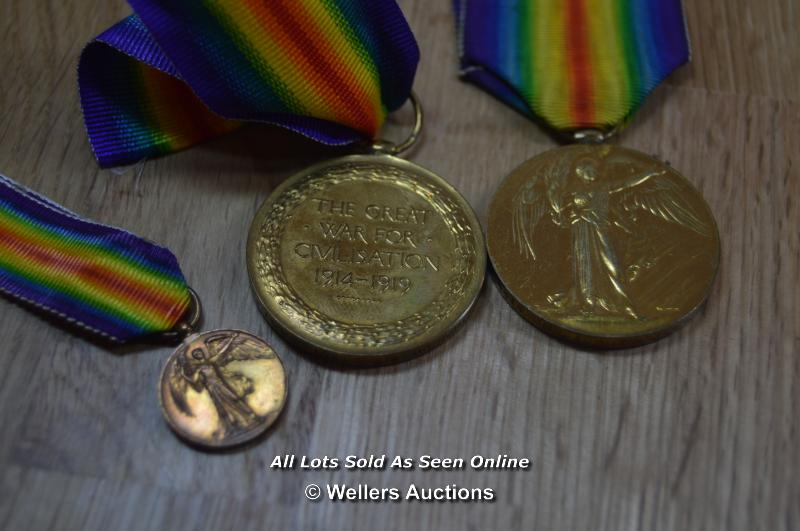 COLLECTION OF BRITISH GREAT WAR IMPERIAL SERVICE MEDALS INCLUDING 2X MINITURES 6X FULL SIZE MEDALS - Image 2 of 6