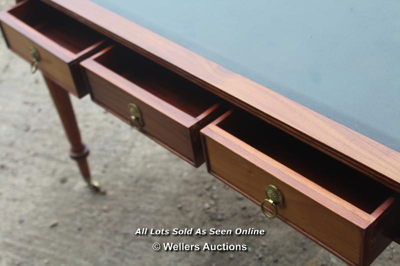 ANTIQUE THREE DRAWER LEATHER TOP WRITING DESK ON TURNED LEGS AND CASTERS, 125CM WIDE, 65CM DEEP, - Image 5 of 6