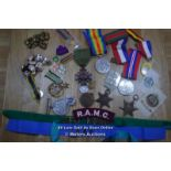 MIXED COLLECTION OF VARIOUS MILITARY MEDALS,BUTTONS AND BADGES