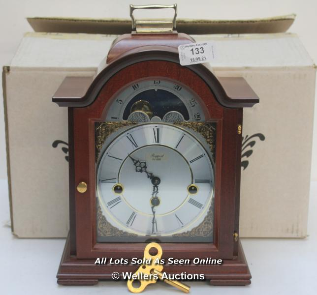 RAPPORT MECHANICAL MOON PHASE,ROMAN NUMERAL, BELL STRIKE, MANTLE CLOCK / APPEARS TO BE NEW -