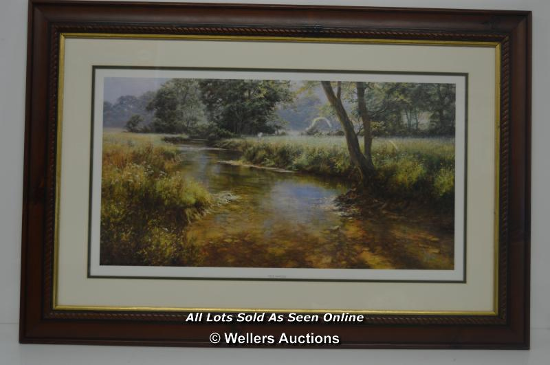 """PRINT, """"IDLE WATER"""" BY D DIPNALL, FRAMED AND GLAZED 22"""" X 32"""" INCLUDING FRAME"""