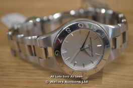 *LADIES BAUME MERCIER LINEA, 27MM STAINLEES STEEL POLISHED AND BRUSHED CASE AND BRACELET, SILVER