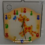 SAWDUST FACTORY, CHILDS CLOCK,QUARTZ, YELLOW GIRAFFE / APPEARS TO BE NEW - OPENED BOX