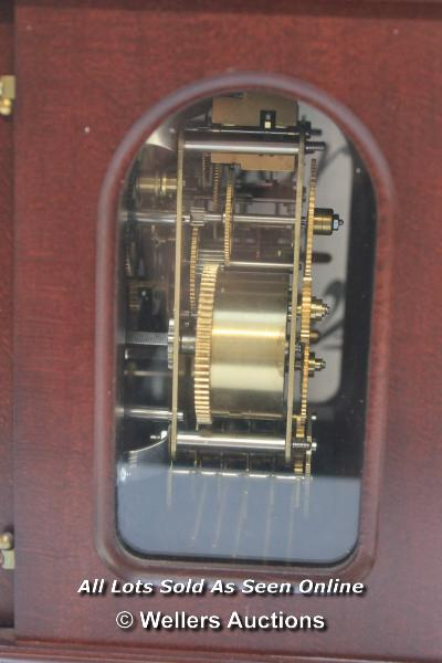 RAPPORT MECHANICAL MOON PHASE,ROMAN NUMERAL, BELL STRIKE, MANTLE CLOCK / APPEARS TO BE NEW - - Image 4 of 5