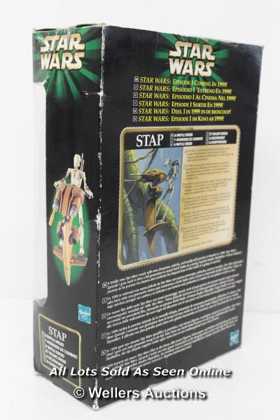 """STAR WARS - EPISODE 1 SNEAK PREVIEW STAP WITH BATLE DROID 3.75"""" SCALE TOY, UN-OPENED, 1999 - Image 2 of 2"""