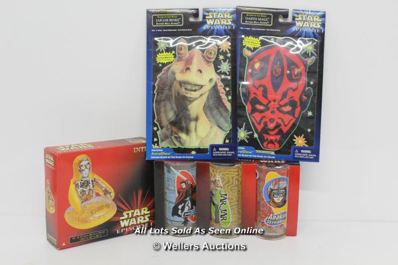 MIXED SELECTION OF SEALED STARWARS EPISODE 1, INCLUDING FINE LINE GLASSES,INTEX C3PO BLOW UPSEAT,