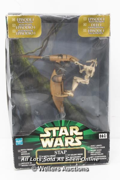 """STAR WARS - EPISODE 1 SNEAK PREVIEW STAP WITH BATLE DROID 3.75"""" SCALE TOY, UN-OPENED, 1999"""