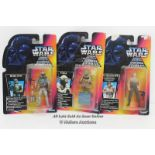 3X STAR WARS - THE POWER OF THE FORCE TRI-LOGO RED CARD FIGURES, BOBA FETT, YODA AND LUKE