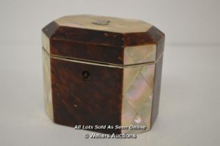 *VERY PRETTY ORIGINAL ANTIQUE FAUX TORTOISESHELL AND MOTHER OF PEARL TEA CADDY / 9.5CM HIGH, WITHOUT
