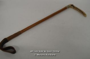 *VINTAGE RIDING HUNTING CROP WITH ANTLER HORN HANDLE LOT 13 [LQD215]