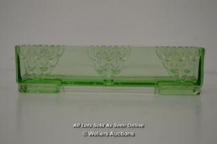 *VINTAGE ART DECO C1930 STOLZLE CZECH GLASS URANIUM POSY TROUGH VASE [LQD214]