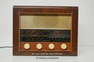 *VINTAGE VALVE RADIO C. 1953 BUSH AC34 VACUUM TUBE BRITISH WOODEN SW MW LW [LQD214]