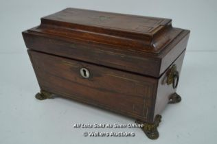 *REGENCY ROSEWOOD SARCOPHAGUS SHAPE TEA CADDY WITH BRASS INLAY / WITHOUT KEY [LQD215]